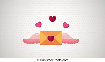 valentines day animated card with envelope flying