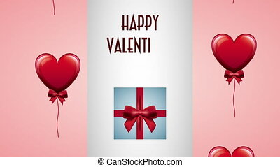 valentines day animated card with gift and hearts
