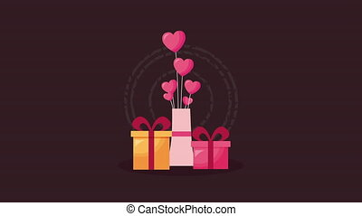 valentines day animated card with gift box and hearts