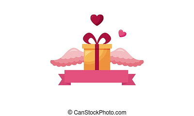 valentines day animated card with gift flying