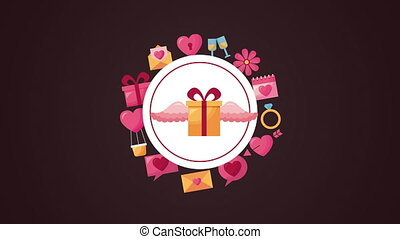 valentines day animated card with gift flying and set icons frame