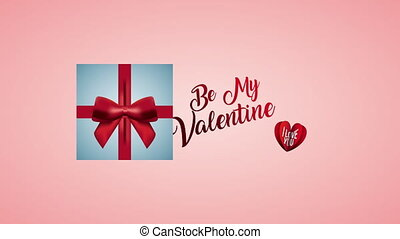 valentines day animated card with giftbox ,4k video animation