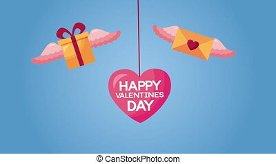 valentines day animated card with gifts and envelope flying