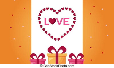 valentines day animated card with gifts and hearts