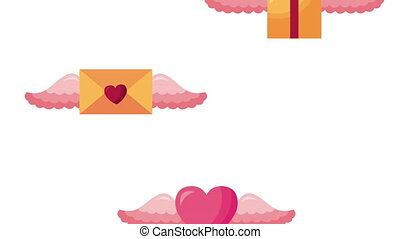 valentines day animated card with gifts and hearts flying