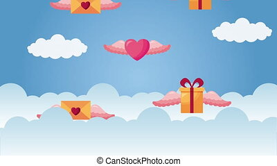 valentines day animated card with gifts hearts and envelopes