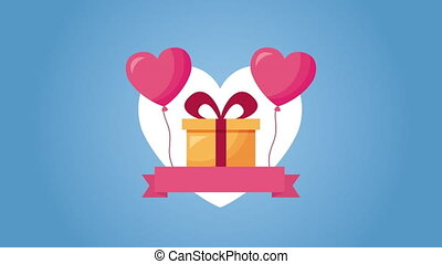 valentines day animated card with heart and gift