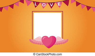 valentines day animated card with heart flying
