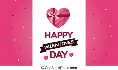 valentines day animated card with heart giftbox ,4k video animation