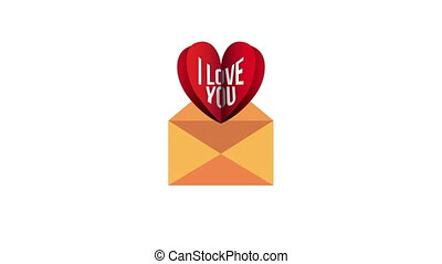 valentines day animated card with heart in envelope