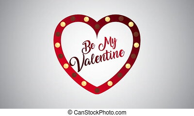 valentines day animated card with heart of lights
