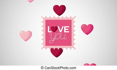 valentines day animated card with hearts frame
