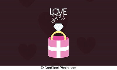 valentines day animated card with ring in gift