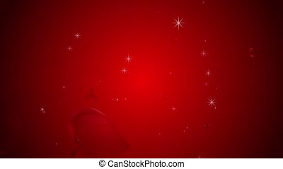 Valentine's day animation, red background with rotating hearts and sparkles