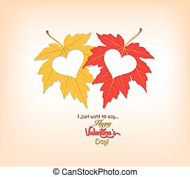 valentines day autumn leaves