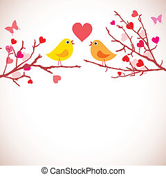 Valentine's day background. Birds on branches (vector) -...