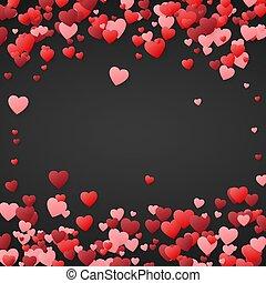 Valentines day background. Design illustration for wedding invitation, Valentines day. Hearts confetti, romantic background. Vector illustration on dark background