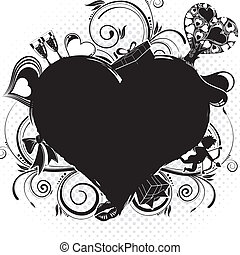 Valentines Day background with Hearts, Cupid and holiday...