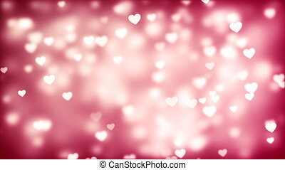 Valentine's day background, flying abstract hearts