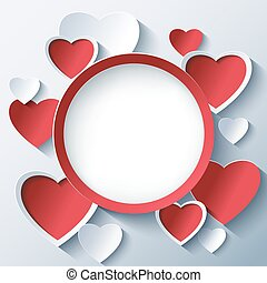 Valentines day background, frame with 3d hearts