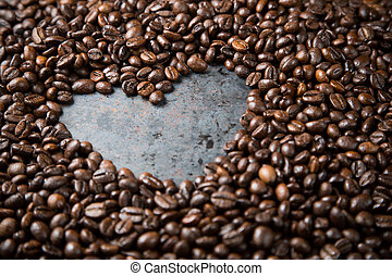 Valentines day background from coffee beans