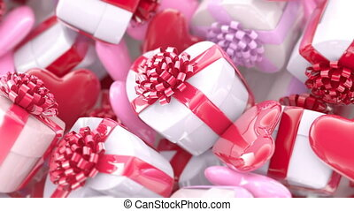 Valentine's day background, gift boxes and hearts