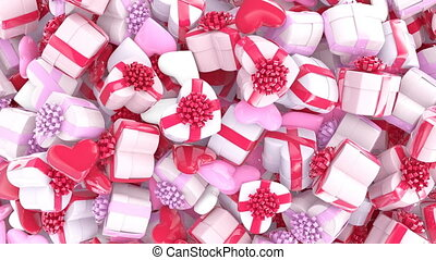 Valentines day background, gift boxes and hearts