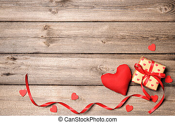 Valentines Day Background - Heart and gift box with red...