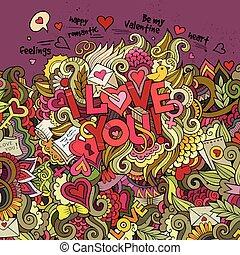 Valentines Day background - Cartoon vector doodles hand...
