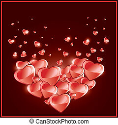 Valentines Day background, Love card with hearts