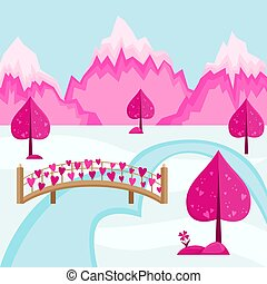 Valentine's day background. Mountain landscape of the village of Love. Bridge hung with hearts