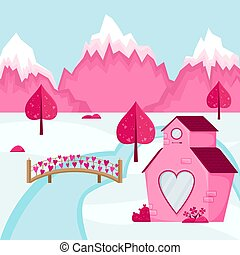 Valentine's day background. Mountain landscape of the village of Love. Pink house with a heart window.