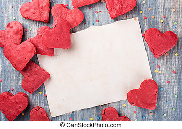 Valentine's Day Background, paper on wooden table - Red...