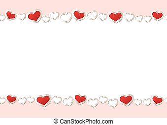 Valentines Day Background. Red Hearts Border Frame. Vector Frame with Space for your Text.