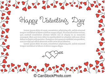 Valentines Day Background . Red Hearts Border Frame. Vector horizontal Frame.