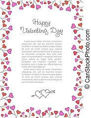 Valentines Day Background . Red Hearts Border Frame. Vector vertical Frame.
