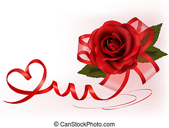 Valentine`s day background. Red rose with gift red bow....