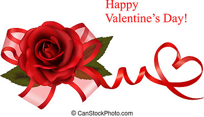 Valentine`s day background. Red rose with gift red bow. ...