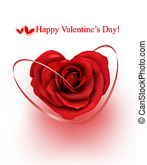 Valentine`s day background. Red rose with gift red ribbons. illustration