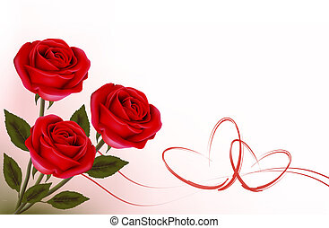Valentine`s day background. Red rose with gift red ribbons. ...