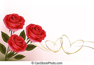 Valentine`s day background. Red roses and gift red bow. ...