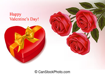 Valentine`s day background. Red roses and gift red box....