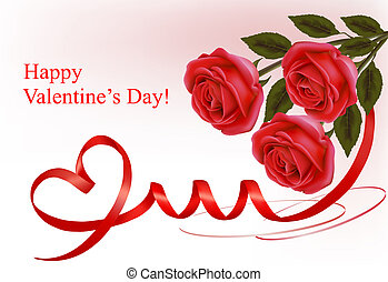 Valentine`s day background. Red roses and red ribbons....
