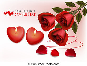 Valentine`s day background. Red roses and two heart candles...