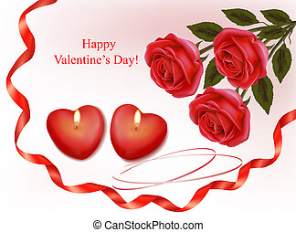 Valentine`s day background. Red ros