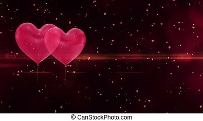 Valentines day background - Valentines day heart balloons on...