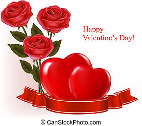 Valentine`s day background. Three red roses with two hearts and ribbon. Vector illustration