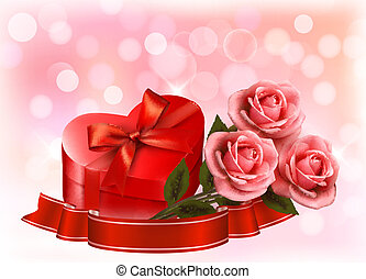 Valentine`s day background. Three red roses with red heart-shaped gift box. Vector illustration.