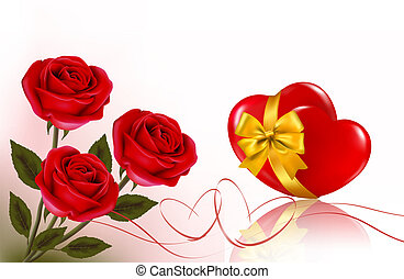 Valentine`s day background. Three red roses with two hearts and ribbon. Vector illustration.