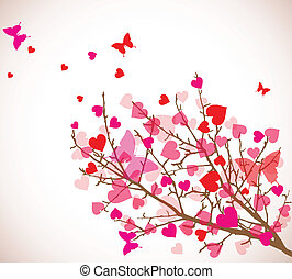 Valentine's day background. Tree with hearts (vector)